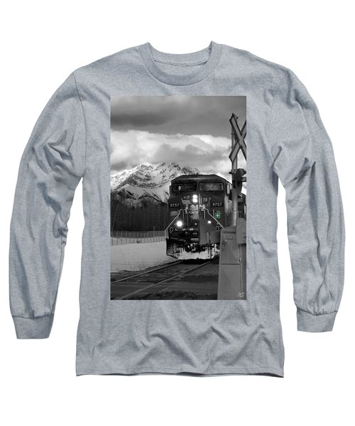 Snowy Engine Through The Rockies Long Sleeve T-Shirt