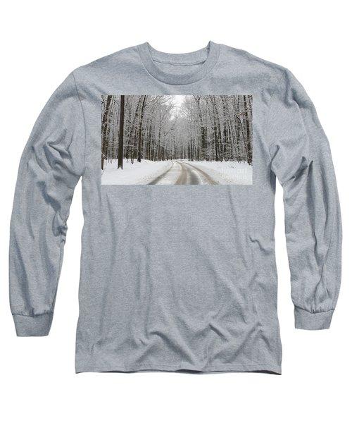 Snowy Road In Oak Openings 7058 Long Sleeve T-Shirt by Jack Schultz