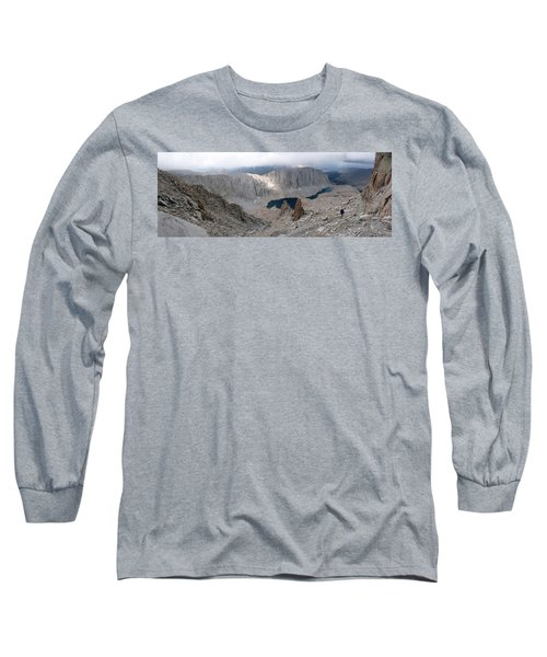 Solitary Hiker Panorama Long Sleeve T-Shirt