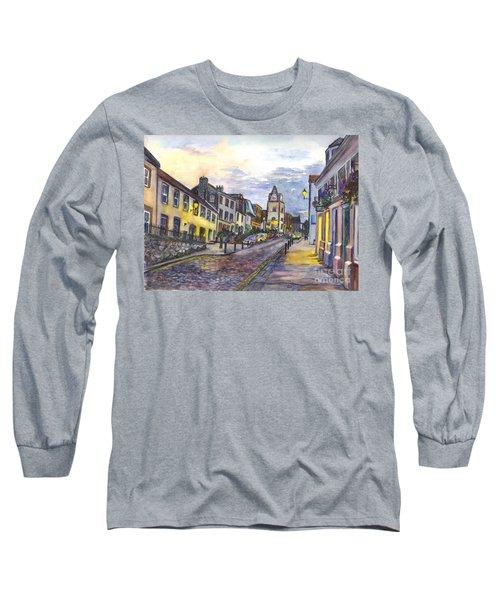 Long Sleeve T-Shirt featuring the painting Nightfall At South Queensferry Edinburgh Scotland At Dusk by Carol Wisniewski