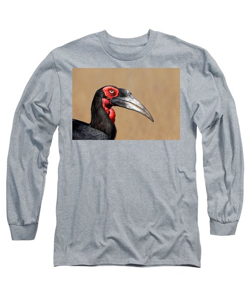 Southern Ground Hornbill Portrait Side View Long Sleeve T-Shirt by Johan Swanepoel