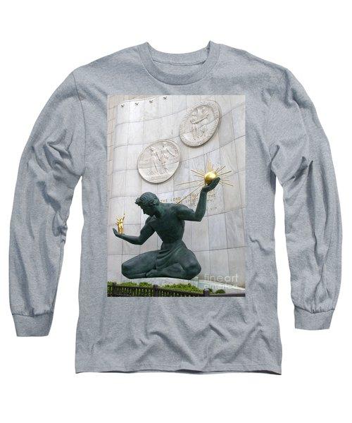Spirit Of Detroit Monument Long Sleeve T-Shirt by Ann Horn