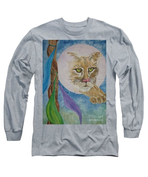 Long Sleeve T-Shirt featuring the painting Spirit Of The Mountain Lion by Ellen Levinson