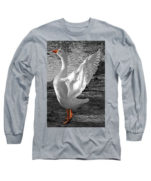 Spread Your Wings B And W Long Sleeve T-Shirt by Lisa Phillips