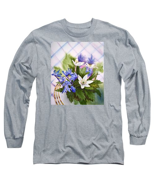 Long Sleeve T-Shirt featuring the painting Spring Flowers by Irina Sztukowski