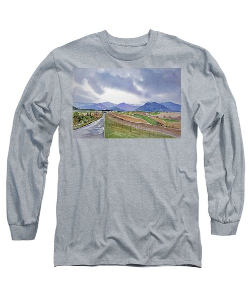 Long Sleeve T-Shirt featuring the painting Spring Rain In Tuscany by Joan Hartenstein