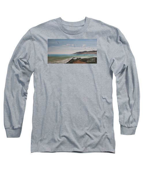 Long Sleeve T-Shirt featuring the painting Squadron Of Pelicans Central Califonia by Ian Donley