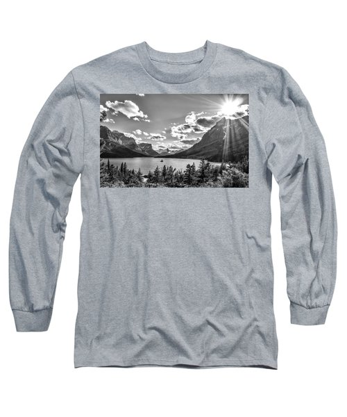 St. Mary Lake Bw Long Sleeve T-Shirt by Aaron Aldrich