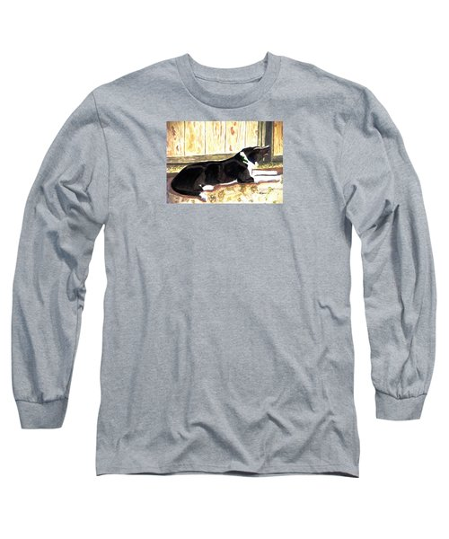 Long Sleeve T-Shirt featuring the painting Stable Duty by Angela Davies