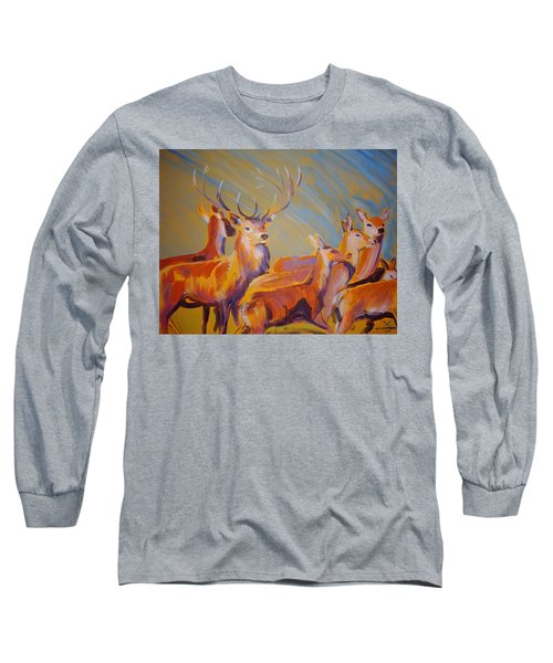 Stag And Deer Painting Long Sleeve T-Shirt