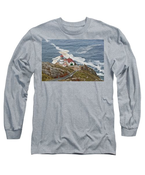 Stairway Leading To Point Reyes Lighthouse Long Sleeve T-Shirt by Jeff Goulden