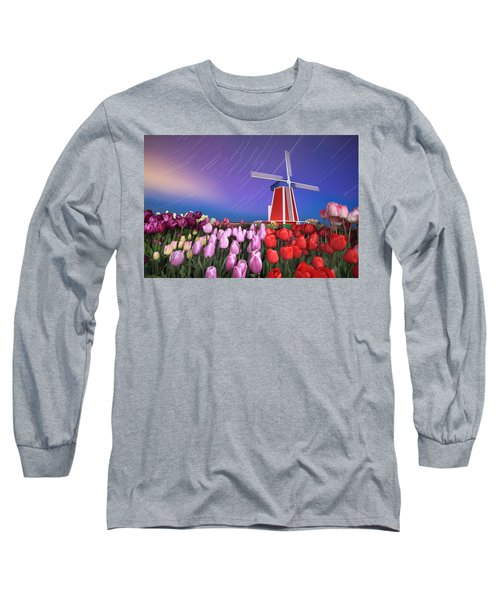 Star Trails Windmill And Tulips Long Sleeve T-Shirt by William Lee