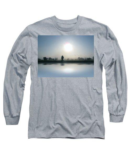 Starlings Misty Morning Long Sleeve T-Shirt by Cedric Hampton