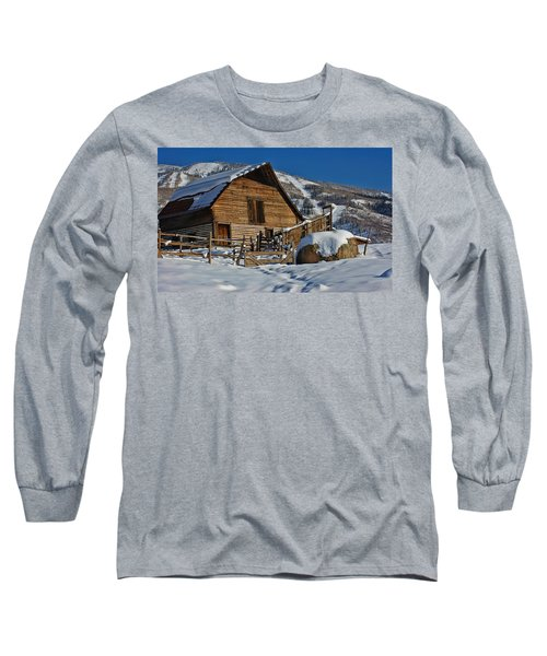 Long Sleeve T-Shirt featuring the photograph Steamboat Barn by Don Schwartz