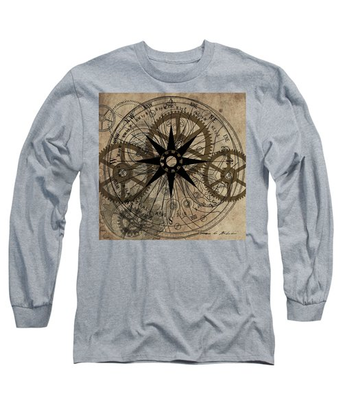 Steampunk Gold Gears II  Long Sleeve T-Shirt by James Christopher Hill