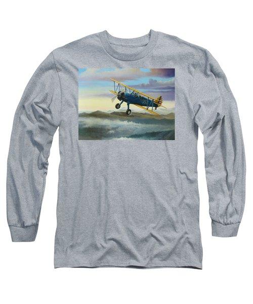 Stearman Biplane Long Sleeve T-Shirt by Stuart Swartz