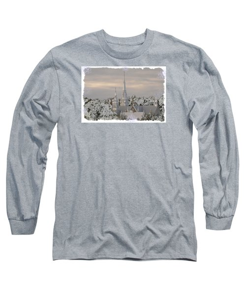 Steeples In The Snow Long Sleeve T-Shirt by Nadalyn Larsen