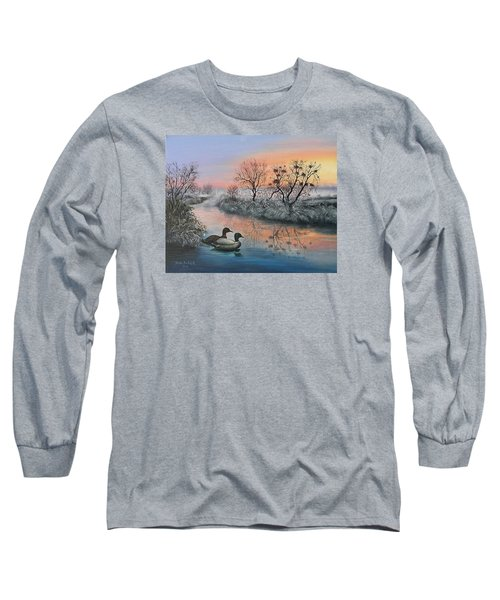 Long Sleeve T-Shirt featuring the painting Still Beauty by Vesna Martinjak