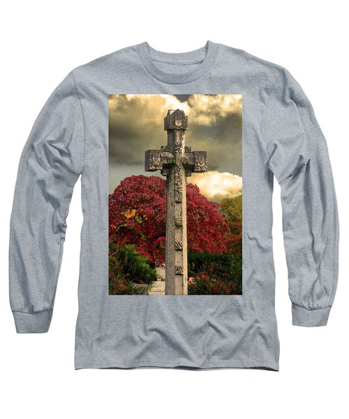 Long Sleeve T-Shirt featuring the photograph Stone Cross In Fall Garden by Lesa Fine
