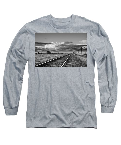 Storm Cloud Above Rail Road Tracks Long Sleeve T-Shirt