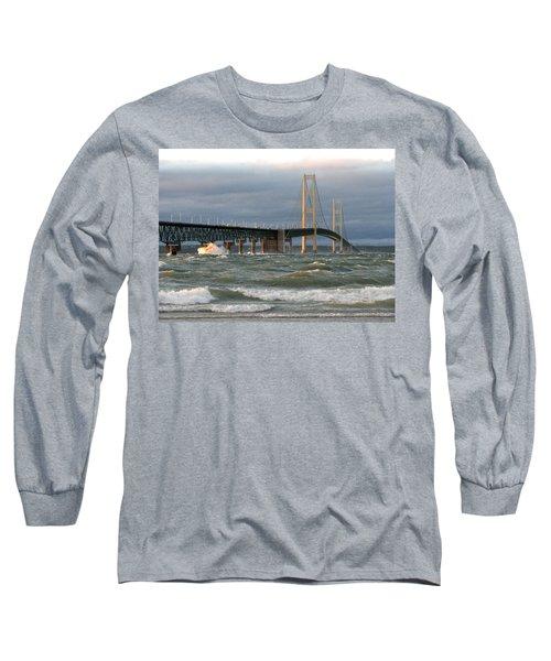 Stormy Straits Of Mackinac Long Sleeve T-Shirt