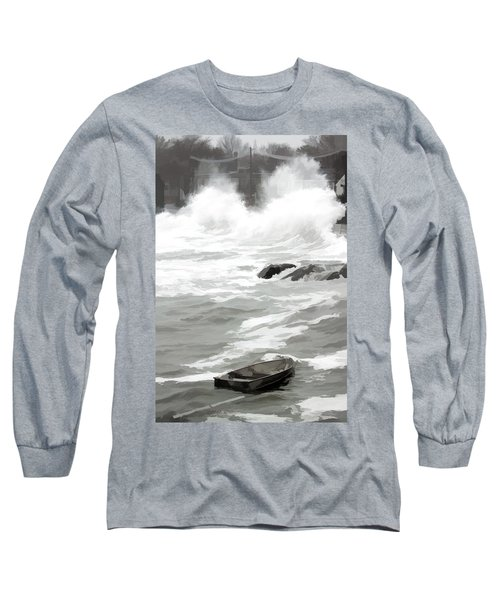 Long Sleeve T-Shirt featuring the photograph Stormy Waves Pound The Shoreline by Jeff Folger