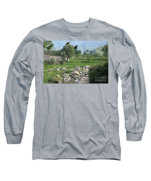 Stream Trees House And Mountains Swat Valley Pakistan Long Sleeve T-Shirt by Imran Ahmed
