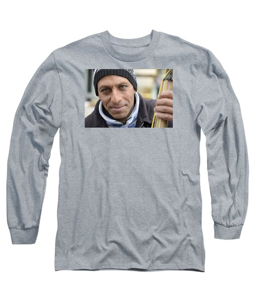 Long Sleeve T-Shirt featuring the photograph Street Musician - The Gypsy Bassist 2 by Teo SITCHET-KANDA