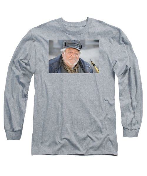 Long Sleeve T-Shirt featuring the photograph Street Musician - The Gypsy Saxophonist 2 by Teo SITCHET-KANDA