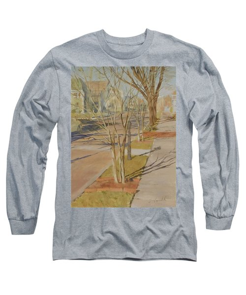 Street Trees With Winter Shadows Long Sleeve T-Shirt