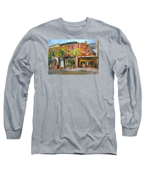 Long Sleeve T-Shirt featuring the painting Street View by Jieming Wang