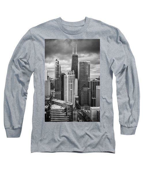 Streeterville From Above Black And White Long Sleeve T-Shirt by Adam Romanowicz