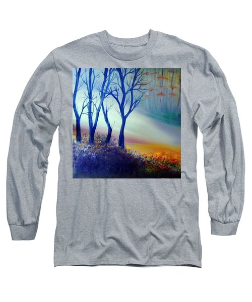 Long Sleeve T-Shirt featuring the painting Sun Ray In Blue  by Lilia D