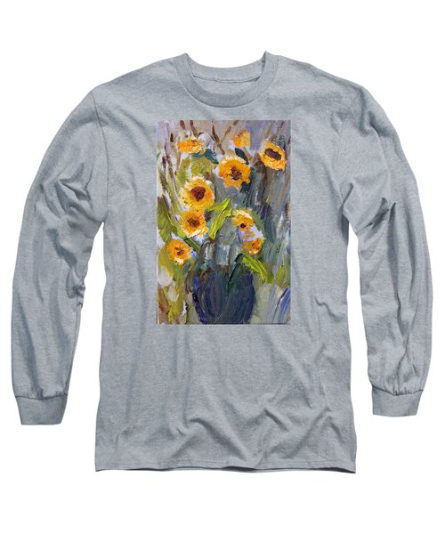 Sunflower Bouquet Long Sleeve T-Shirt by Michael Helfen