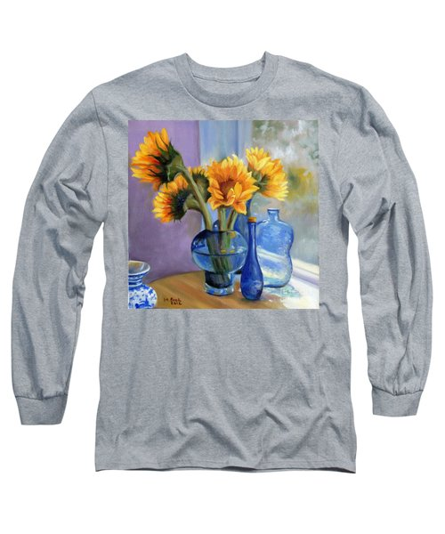 Sunflowers And Blue Bottles Long Sleeve T-Shirt