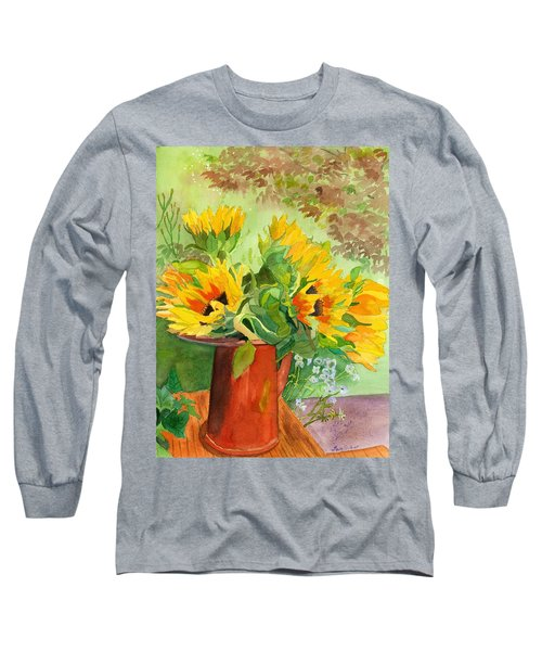 Sunflowers In Copper Long Sleeve T-Shirt by Lynne Reichhart