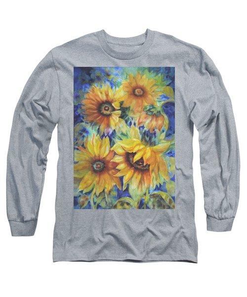 Sunflowers On Blue I Long Sleeve T-Shirt