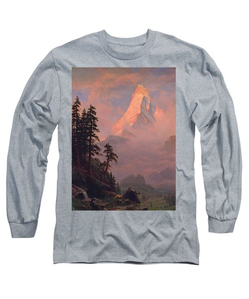 Sunrise On The Matterhorn Long Sleeve T-Shirt by Albert Bierstadt
