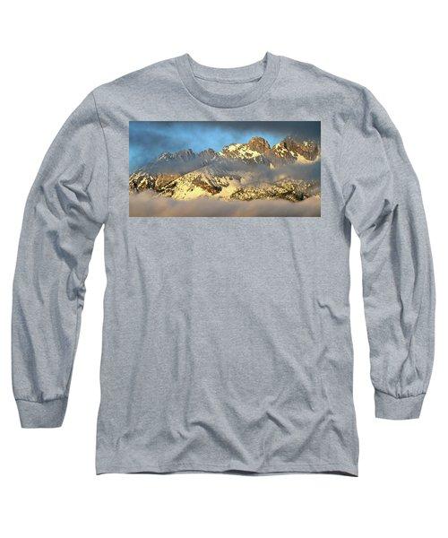 Sunrise On Thompson Peak Long Sleeve T-Shirt by Ed  Riche