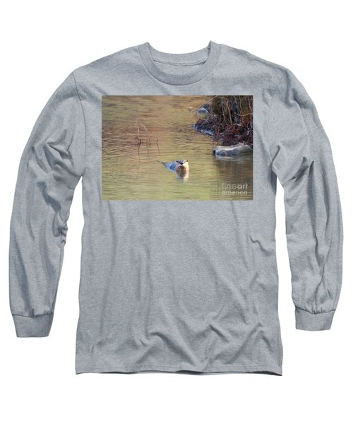 Sunrise Otter Long Sleeve T-Shirt by Mike Dawson