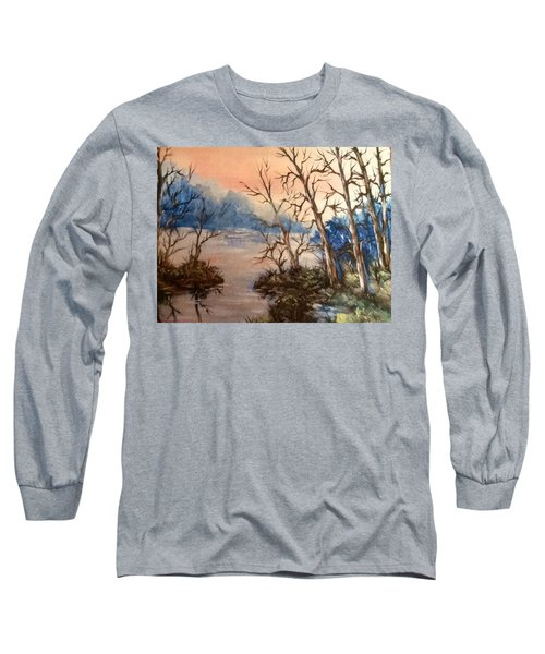 Long Sleeve T-Shirt featuring the painting Sunset Calm by Megan Walsh