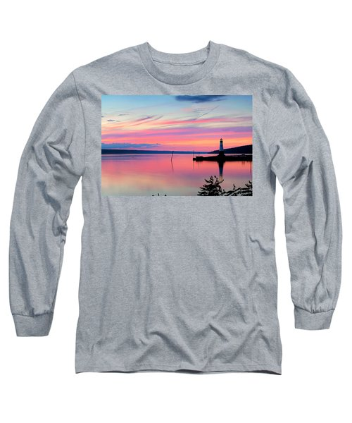 Sunset On Cayuga Lake Ithaca New York Long Sleeve T-Shirt by Paul Ge
