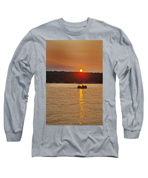 Boating Into The Sunset Long Sleeve T-Shirt by Richard Engelbrecht