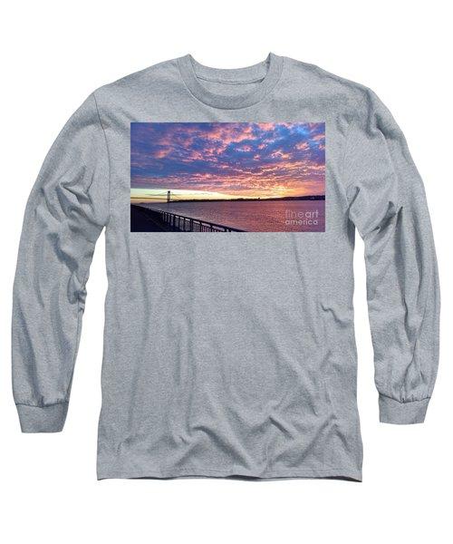 Sunset Over Verrazano Bridge And Narrows Waterway Long Sleeve T-Shirt by John Telfer