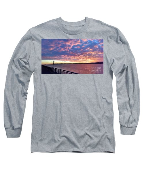 Sunset Over Verrazano Bridge And Narrows Waterway Long Sleeve T-Shirt