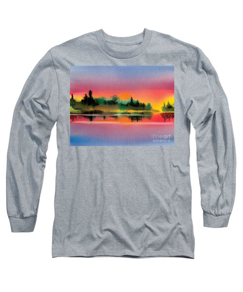Long Sleeve T-Shirt featuring the painting Sunset by Teresa Ascone