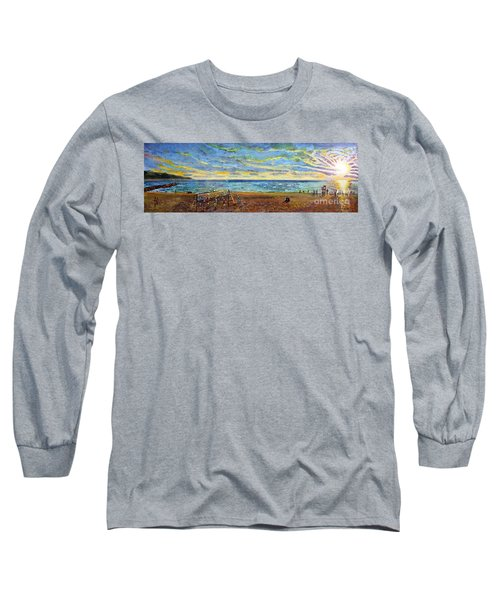 Sunset Volleyball At Old Silver Beach Long Sleeve T-Shirt by Rita Brown