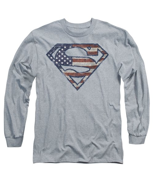 Superman - Wartorn Flag Long Sleeve T-Shirt