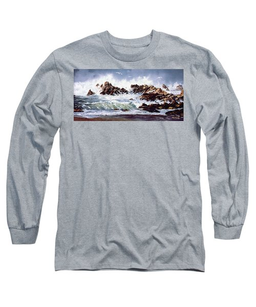 Long Sleeve T-Shirt featuring the painting Surf At Lincoln City by Craig T Burgwardt