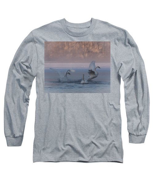 Swans Chasing Long Sleeve T-Shirt by Patti Deters